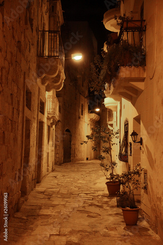 Maltese street at night