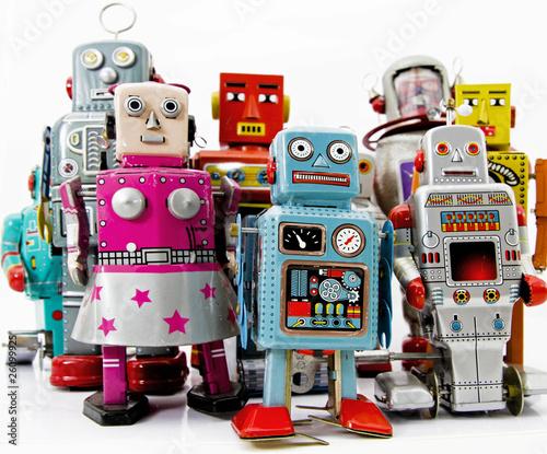 Leinwanddruck Bild robot toys group