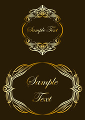Collection of gold labels. Vector