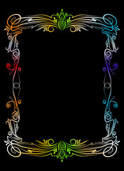 Colourful frame on black background.
