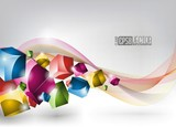 Abstract vector background with colour dices