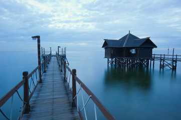 dock and floating hut