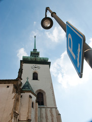 No parking sign and Saint James Church in Brno, Czech Republic