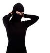 female thief in black clothes founding balaclava