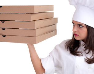 female cook with boxes of pizza.