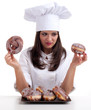 estimating cake female chef with  donuts