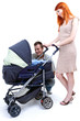 happy family - parents with baby stroller