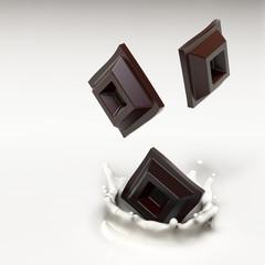Cubetti di cioccolato nel latte