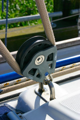 Pulley on sailing boat