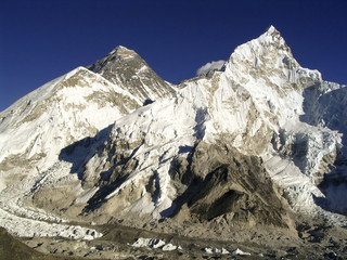 Mt Everest (8850m) and Nuptse in the Himalaya, Nepal.