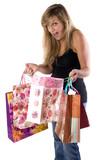 jeune femme qui vient de faire les boutiques poster