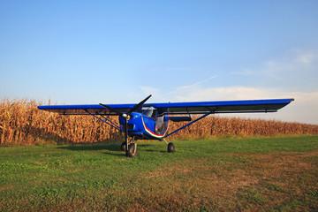aereoplano atterrato su campo di grano