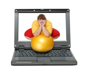 laptop with overweight woman
