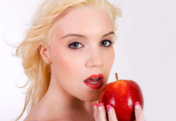 sensual woman with red apple