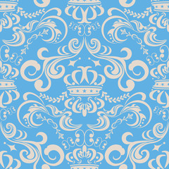 Abstract seamless floral blue pattern