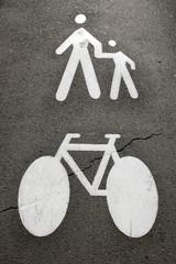 Pedestrians and bike