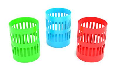 Color trash cans
