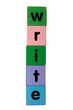 write in text on toy blocks