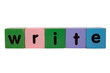 write in toy blocks