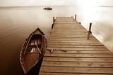 Albufera lake wetlands pier in Valencia Spain poster