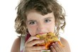 little girl eating hungry pizza closeup portrait
