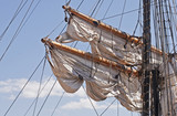 Spars with rigging of a windjammer