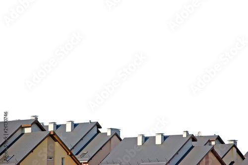 Detailed Rowhouse Roofs Panorama Isolated