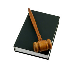 Judge's gavel legal book isolated on white