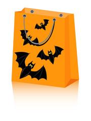 vector Halloween shopping bag with spooky bats