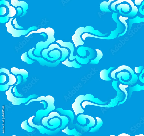 Chinese seamless pattern, clouds, vector illustration