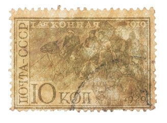 RUSSIA - CIRCA 1930s: First Cavalry Army riders stamp