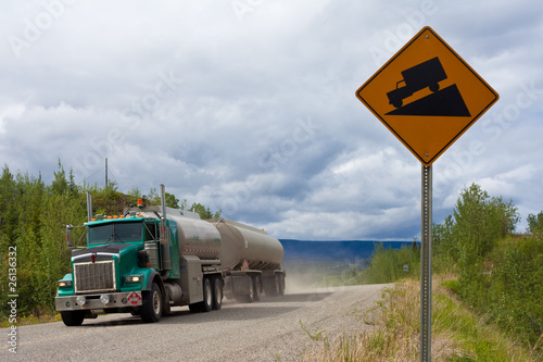 Fuel truck on steep dirt road