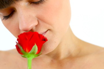 Smelling rose, isolated