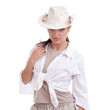 young posing woman with in white shirt and hat