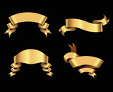 golden ribbons on black background