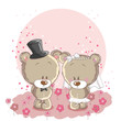 Wedding couple - little cute bears