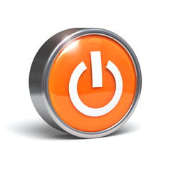 Power button - 3D image with clipping path
