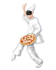 pulcinella con pizza