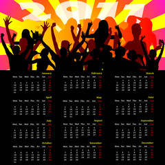 calendar with party people