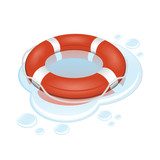 Vector illustration of red and white lifebuoy with water