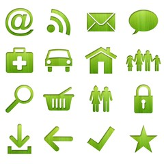 wood icon set (green version)