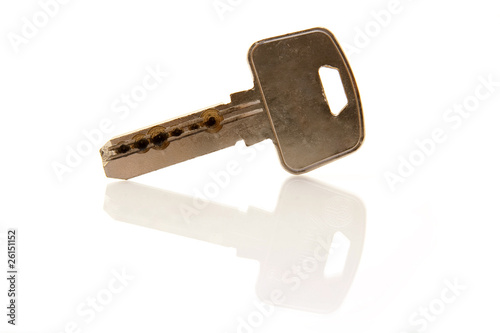 key isolated with reflection