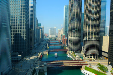 The Chicago River seen from a high vantage point