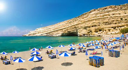 Famous Beach Matala, Greece Crete with sun shining