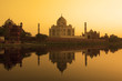 Taj Mahal sunset reflection, Yamuna River.