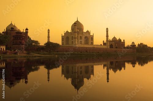 Taj Mahal sunset reflection, Yamuna River.