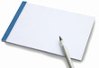 Notepad with white sheet of blank paper for your writing