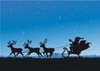 Santa Claus mit Rentieren als Schattenriss