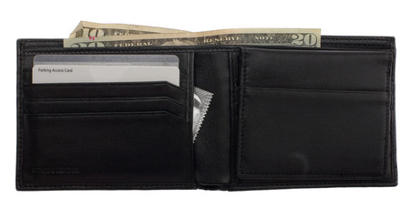 Open leather wallet