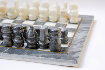 Old carved marble chess set